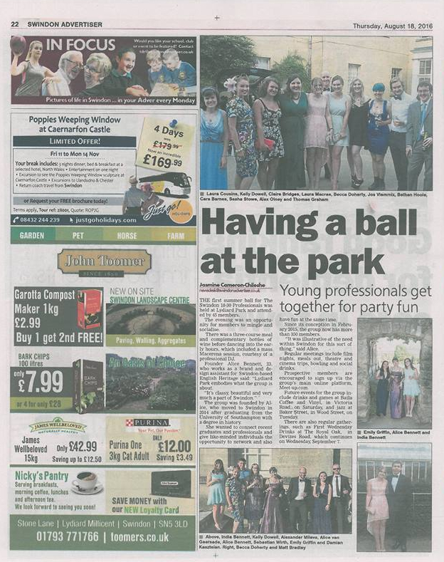 Summer Ball 2016 Write Up (The Swindon Advertiser)
